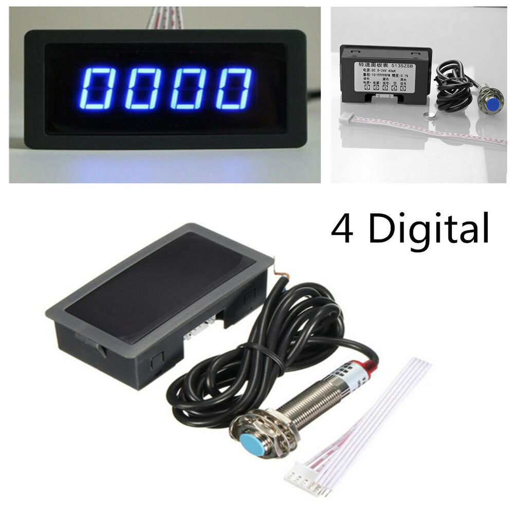hight resolution of details about 4 digital blue led tachometer rpm speed meter npn hall proximity switch sensor