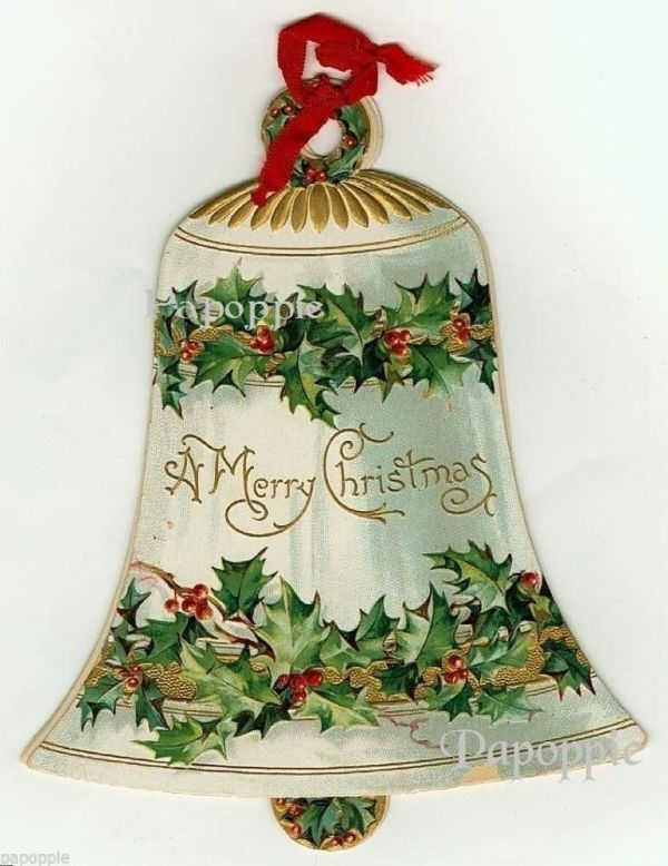 christmas bell vintage fabric block