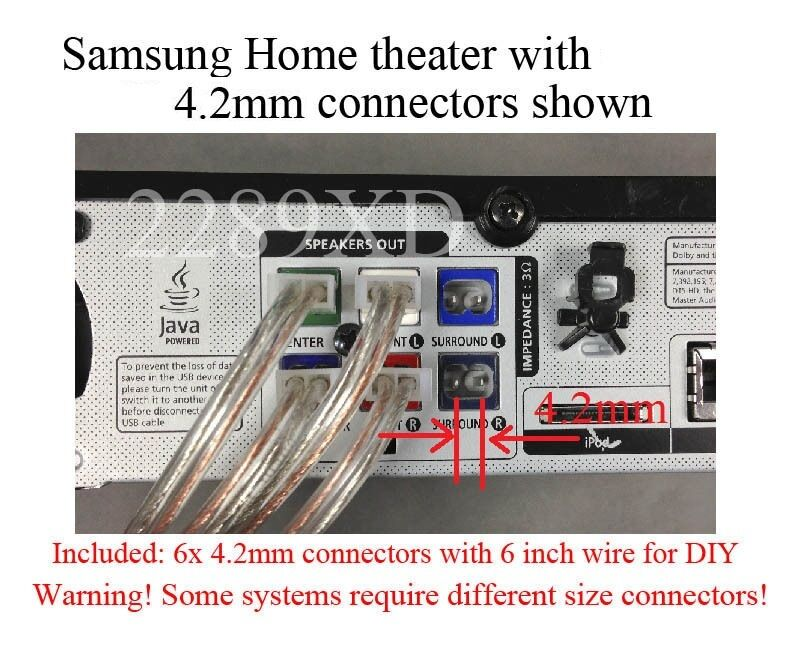 home theatre system wiring diagram bone cell labeled 6 4.2mm speaker wire/cabe connectors/plugs made for select samsung theater | ebay