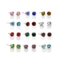 Sterling Silver Round Crystal Birthstone Studs Earrings