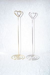 HEART TABLE NUMBER HOLDERS IN CHROME OR GOLD, MANY ...