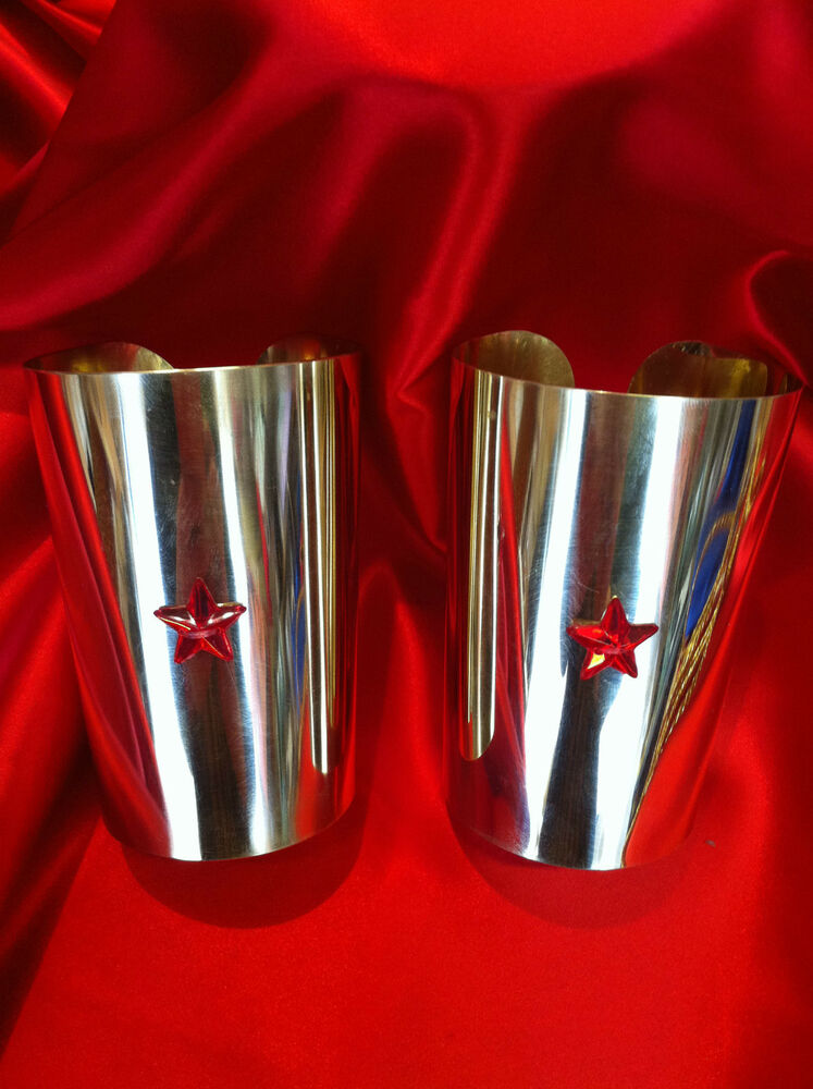Hand crafted Polished brass or steel wonder woman cuffs