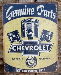 Retro Sign Antique Style Chevy Parts Detroit Made Ad Home