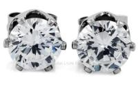 Clear Round CZ Cubic Zirconia Magnetic Clip On Stud ...