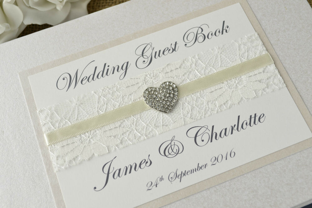 Ivory Personalised Wedding Guest Book  Vintage Lace