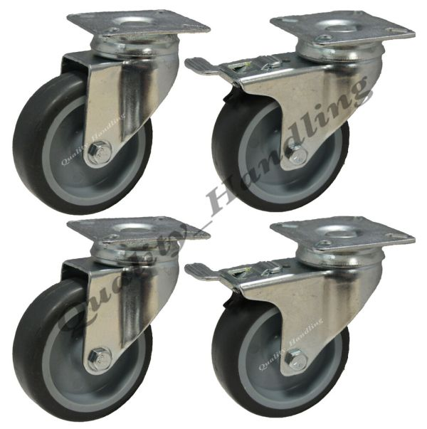 Heavy Duty Caster Wheels with Brakes