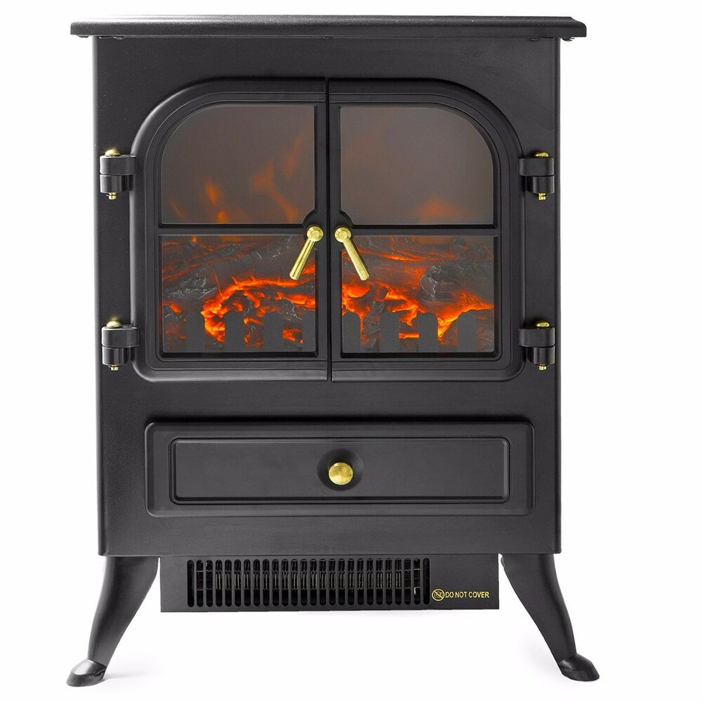 Free Standing Electric 1500W Fireplace Heater Fire Stove Flame Wood Log Portable  eBay