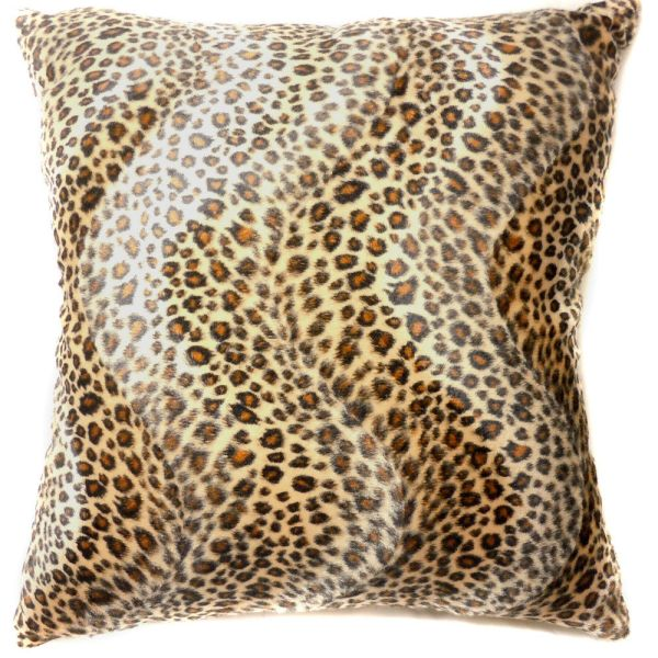 Ff07a Faux Fur Brown Leopard Skin Print Cushion Cover