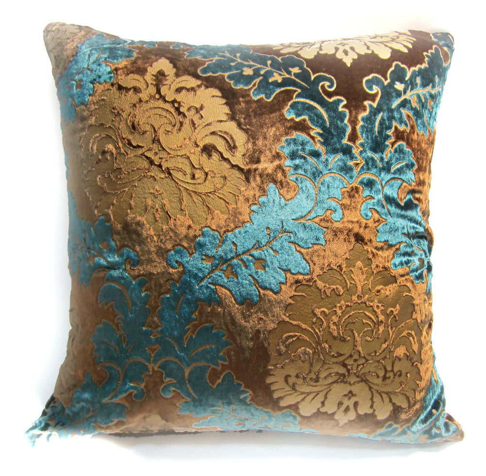 faux suede sofa cover dwell bed gumtree wa04a teal blue brown gold print damask velvet cushion ...