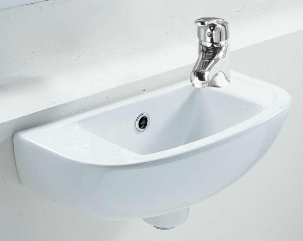 Small Square Compact Basin Sink Wall Hung 450 X 210 Right