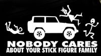 JEEP Nobody Cares About Your Stick FIGURE Family Sticker ...