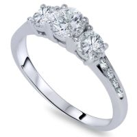 1ct Three Stone Diamond Engagement Ring 14K White Gold