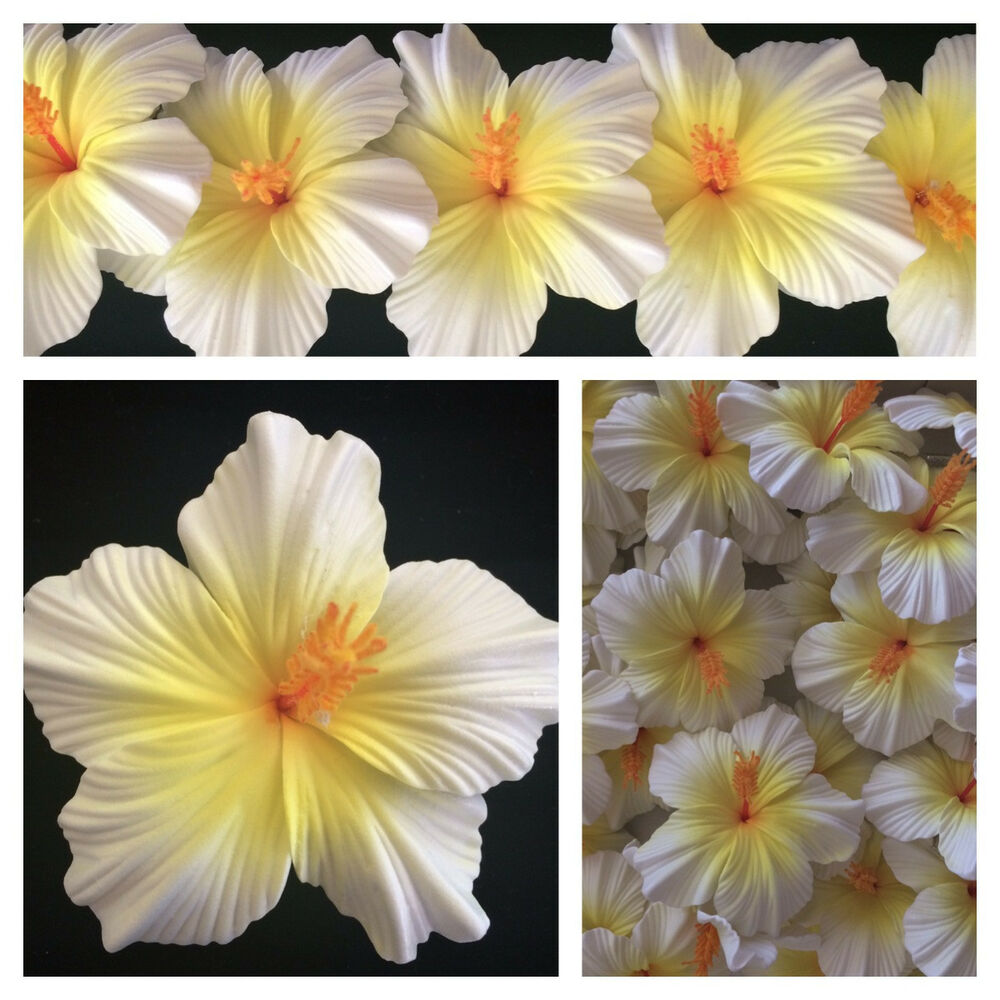 Hawaiian Foam Hibiscus Flower Hair CLIP Natural White W