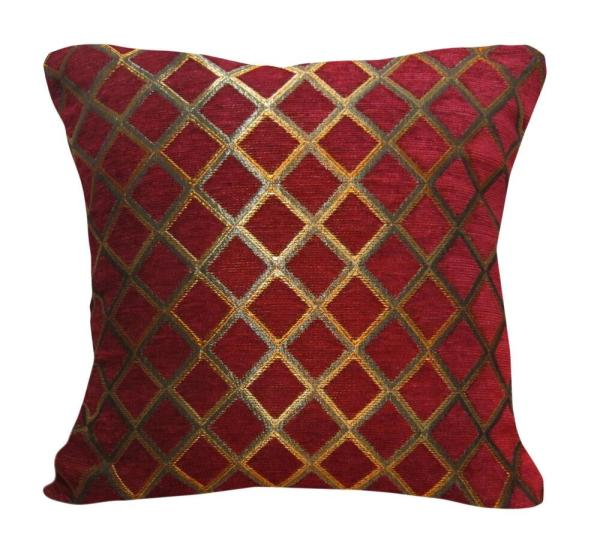 Wd33ba Gold Red Damask Chenille Check Throw Cushion
