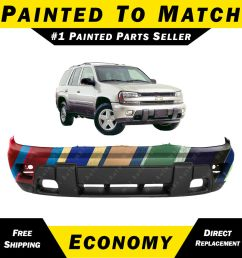 details about new painted to match front bumper cover replacement 2002 2008 chevy trailblazer [ 1000 x 1000 Pixel ]