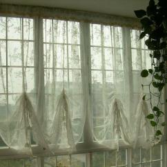 French Lace Kitchen Curtains Outdoor Stainless Steel Cabinet Doors Country Austrian Balloon Shade Sheer Voile ...