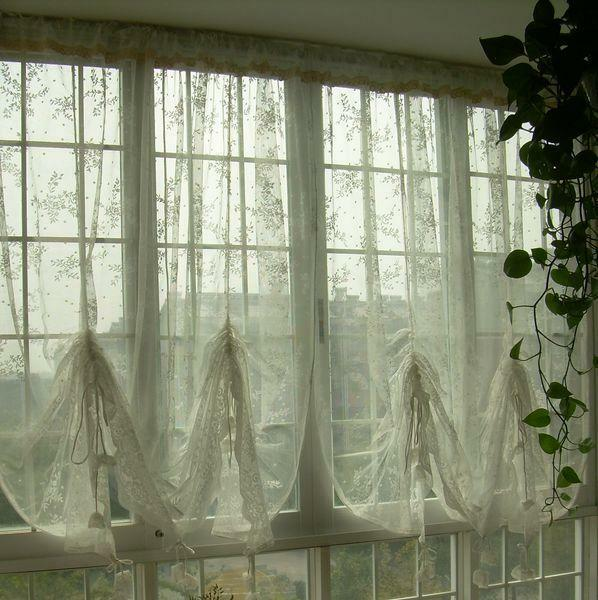 french lace kitchen curtains california pizza franchise country austrian balloon shade sheer voile ...