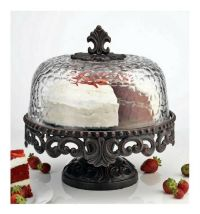 Attractive Scrolled Metal Cake Stand with Hammered Glass ...