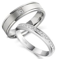 18K WHITE GOLD HIS & HERS MENS WOMENS WEDDING BANDS RINGS ...