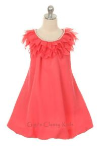 New Coral Yoru Chiffon Flower Girls Dress Size 7-8 ...