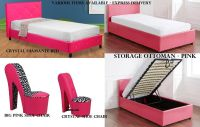 Girls Hot Funky Pink Bedroom Furniture Ottoman Storage ...