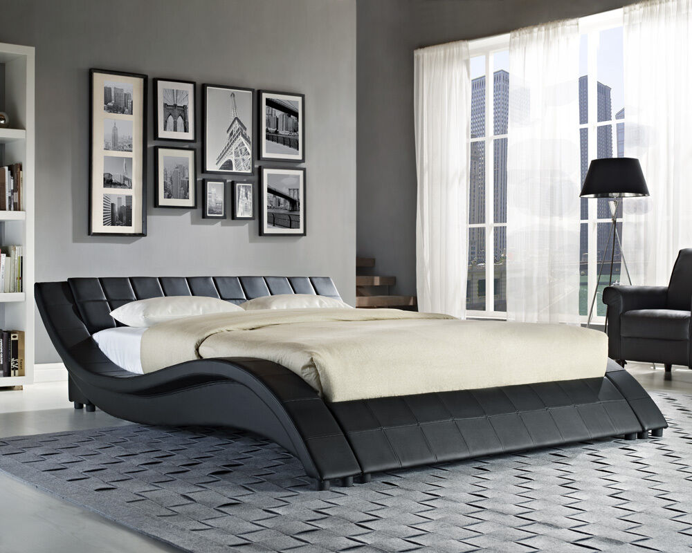 Double King Size Black White Bed Frame and with Memory Foam Mattress 4FT6 5FT  eBay