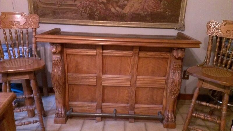 Bar Solid oak hand carved bar with brass finishings  eBay