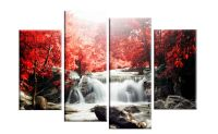 RED AUTUMN FOREST WATERFALL CANVAS WALL ART PICTURE 4 ...
