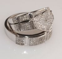 Diamond & White Gold Heart Trio Set Wedding /Engagement