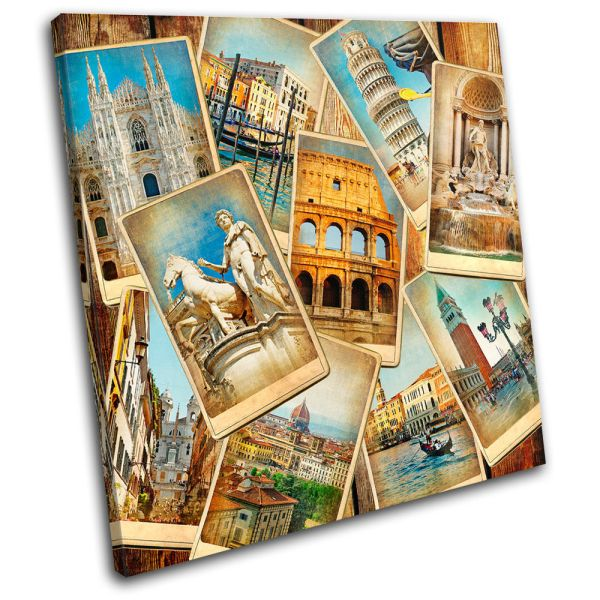 Italy Collage Vintage Single Canvas Wall Art Print