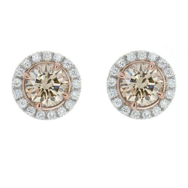 18kt White And Rose Gold 1.25ct Champagne Colored Diamond