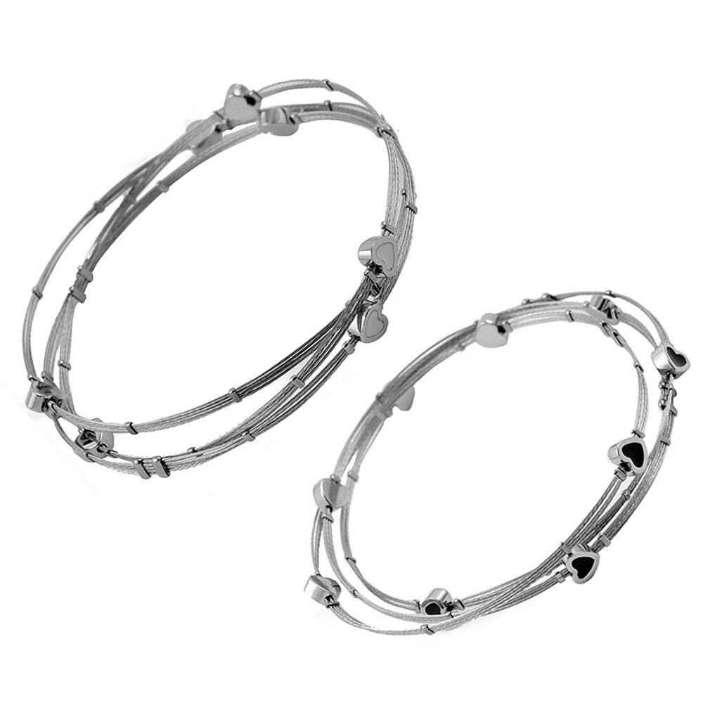 Stainless Steel 3-Strand Wire Cable Bangle Bracelet w/ 2