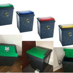 Kitchen Recycling Bins Banquette Bench 50l Recycle Bin Storage Waste Plastic ...