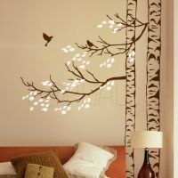 Trees with leaves and birds Tree Wall Decal Sticker ...