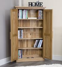 Arden solid oak CD DVD rack cupboard cabinet storage