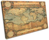 Old World Atlas Maps Flags SINGLE CANVAS WALL ART Picture ...