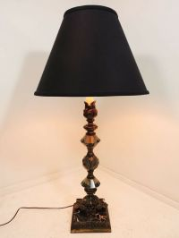 "Vintage 35"" tall Brass Marble Glass Elegant Black Shade ..."