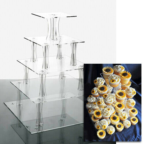 Cupcake Stand 5 TIER SQUARE Clear Acrylic Display Tower