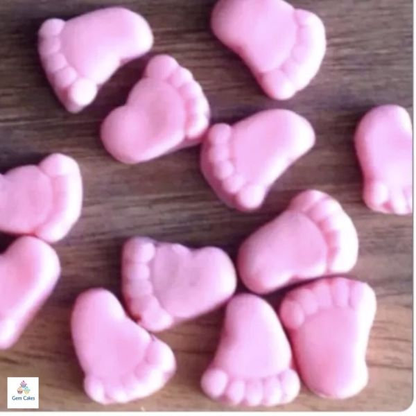 Edible Pink Baby Feet Girl Shower Cake Decorations