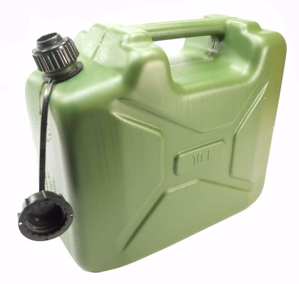 Plastic 10 Liter 2.6 Gallon Jerry Military Water With Spout Od