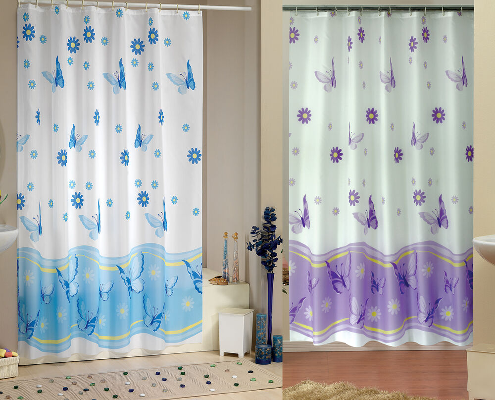 Elegant Extra Long And Wide Fabric Shower Curtain Two Sizes In Blue Or Lilac  eBay