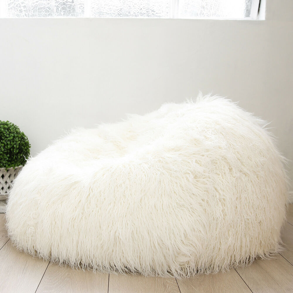 buy bean bag chair fiddle back deluxe shaggy fur cover soft cloud large plush luxury beanbag new | ebay