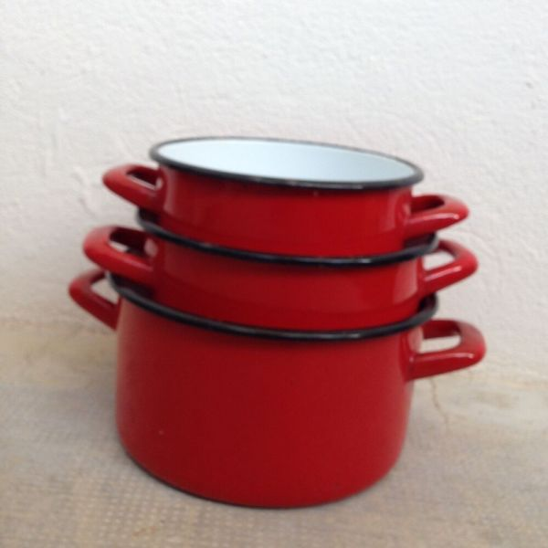 Vintage French Enamelware Red Enamel Coffee Pot Copper