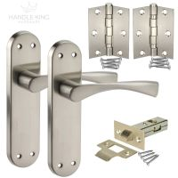 Winged Internal Brushed Chrome Door Handles on Backplate ...