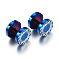 1 Pair Blue Stainless Steel Geometric Pattern Mens Boys