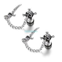 1 Pair Vintage Gothic Stainless Steel Pirate Skull Mens