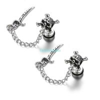 1 Pair Vintage Gothic Stainless Steel Pirate Skull Mens ...