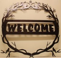 Nature Welcome Sign silhouette metal wall art home decor ...