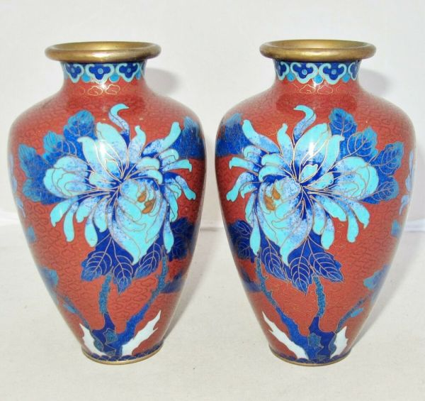 Antique Pair Of Chinese Cloisonne Brick Red Vases With