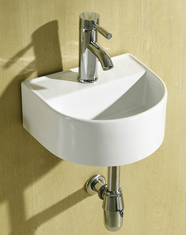 Small Compact Round D Shaped Cloakroom Basin Bathroom Sink